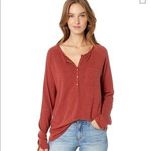 Prana Burgundy Cozy Up Henley Front Pocket
